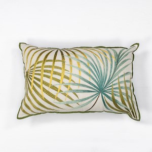 Ivory and Green Palms 12 x 20-Inch Rectangular Decorative Pillow