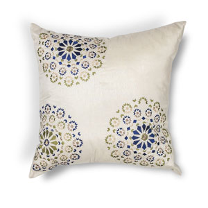Ivory and Blue 18-Inch Throw Pillow