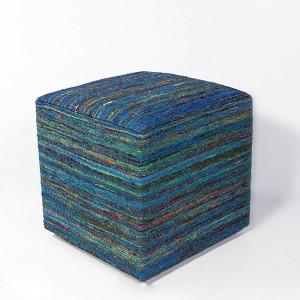 Aqua Woven Viscose Square Pouf