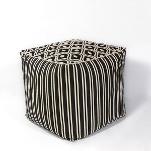 Black and White Groove Square Pouf