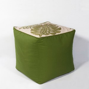 Ivory and Green Tropica Square Pouf