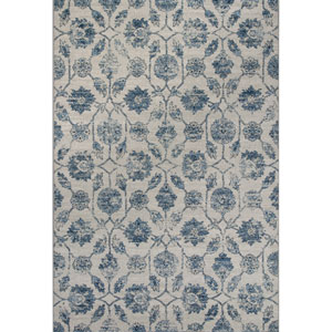 Reflections Ivory and Blue Rectangular: 2 Ft. 7-Inch x 4 Ft. 11-Inch