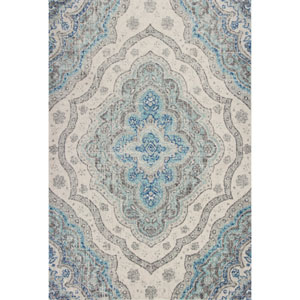 Reina Grey and Blue Rectangular: 3 Ft. 3 In. x 4 Ft. 11 In. Rug