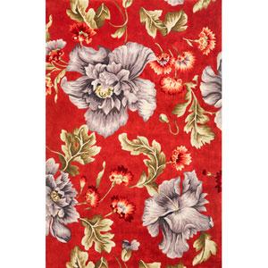 Ruby Coral/Blue Splendor Rectangular: 5 Ft. 3 In. x 8 Ft.  Rug