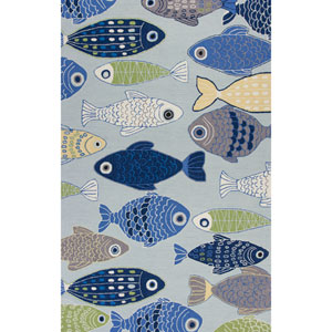 Sonesta Lt Blue Sea Of Fish Rectangular: 27 In. x 45 In. Rug