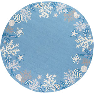 Sonesta Sea Blue Coastal Round: 7 Ft. 6 In. Rug