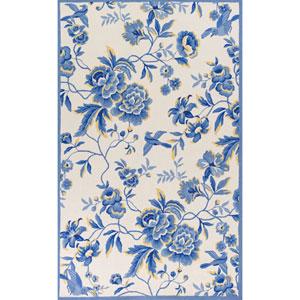 Sonesta Ivory and Blue Rectangular: 5 Ft. x 7 Ft. 6-Inch