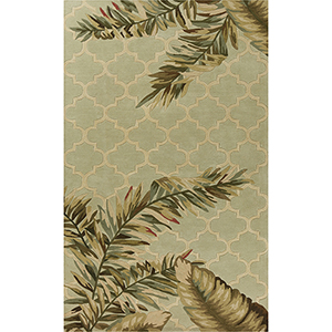 Sparta Sage Tropical Mosaic Rectangular: 3 Ft. 6 In. x 5 Ft. 6 In. Rug