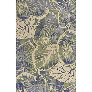 Sparta Blue and Green Silhoutte Rectangular: 3 Ft. 6 In. x 5 Ft. 6 In. Rug
