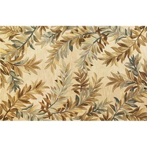 Sparta Ivory Tropical Branches Rectangular: 5 ft. 3 in. x 8 ft. 3 in. Rug