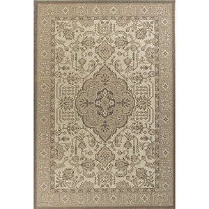 Tahoe Ivory and Beige Morrocco Rectangular: 3 Ft. 3 In. x 4 Ft. 11 In. Rug