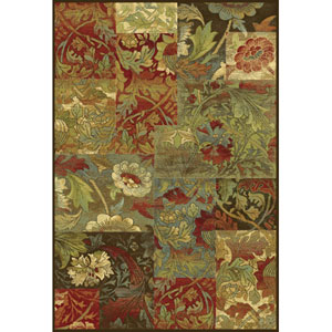 Versailles Mocha Flora Rectangular: 5 Ft. 3 In. x 7 Ft. 7 In.  Rug