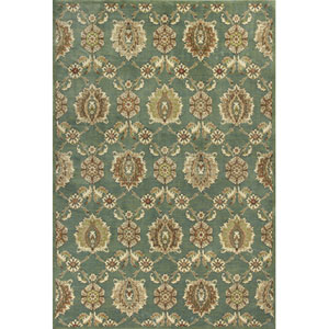 Versailles Seafoam Allover Tabriz Rectangular: 5 Ft. 3 In. x 7 Ft. 7 In. Rug