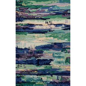 Whisper Ink Blue Horizons Rectangular: 3 Ft. 3 In. x 5 Ft. 3 In. Rug