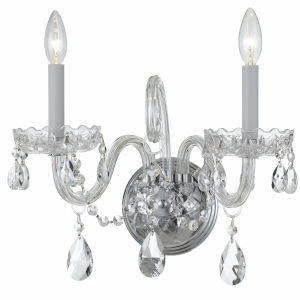 Traditional Crystal Polished Chrome Two-Light Crystal Sconce