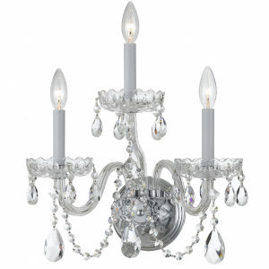 Traditional Crystal Swarovski Strass Crystal Polished Chrome Three-Light Sconce
