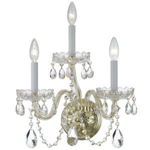 Traditional Polished Brass Three Light Wall Sconce with Clear Hand Cut Crystal