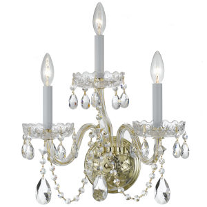 Traditional Polished Brass Three Light Wall Sconce with Clear Swarovski Strass Crystal