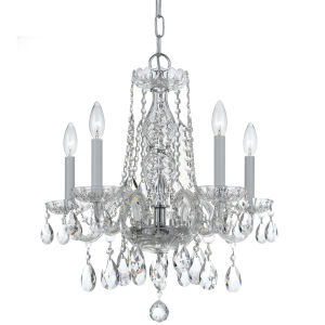 Traditional Crystal Swarovski Spectra Crystal Polished Chrome Five-Light Chandelier