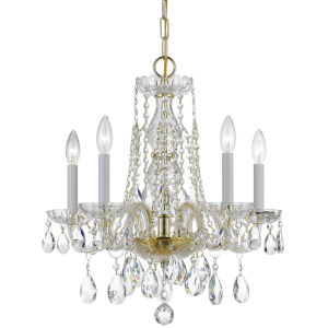 Traditional Crystal Swarovski Strass Crystal Polished Brass Five-Light Chandelier