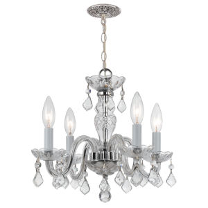 Traditional Polished Chrome Four-Light Chandelier with Clear Hand Cut Crystals