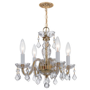 Traditional Polished Brass Four-Light Chandelier with Clear Hand Cut Crystals