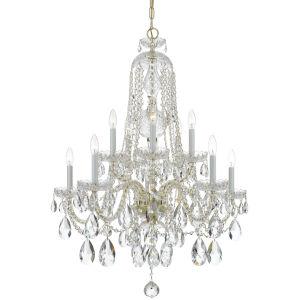 Traditional Crystal Swarovski Strass Crystal Polished Brass Seven-Light Chandelier