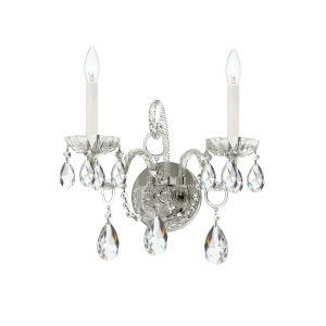 Traditional Crystal Polished Chrome 14-Inch Two-Light Sconce with Clear Hand Cut Crystal