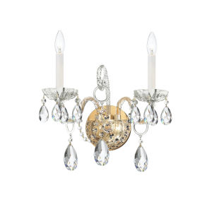 Traditional Crystal Swarovski Strass Crystal Polished Brass Two-Light Sconce