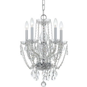 Traditional Polished Chrome Five-Light Hand Cut Crystal Chandelier