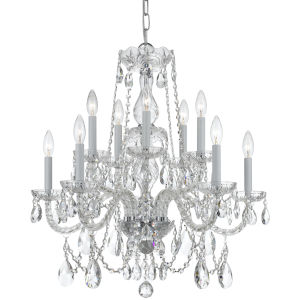 Traditional Polished Brass Ten-Light Hand Cut Crystal Chandelier
