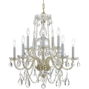 Traditional Crystal Swarovski Strass Crystal Polished Brass Nine-Light Chandelier