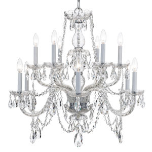 Traditional Crystal Polished Chrome 31-Inch Twelve-Light Chandelier