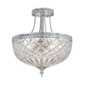 Bohemain Crystal Polished Chrome Three-Light Semi-Flush