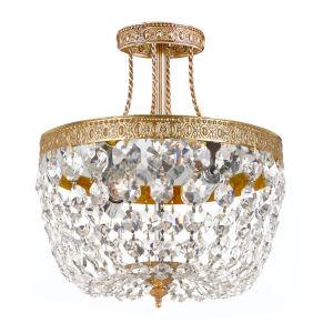 Richmond Olde Brass Three-Light Semi-Flush Mount with Swarovski Strass Crystals