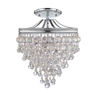 Calypso Polished Chrome Three Light Semi-Flush Mount
