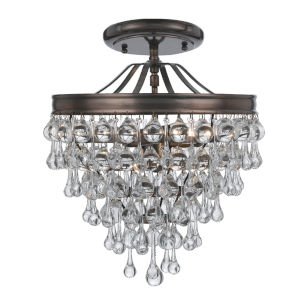 Calypso Vibrant Bronze Three Light Crystal Teardrop Semi-Flush Mount