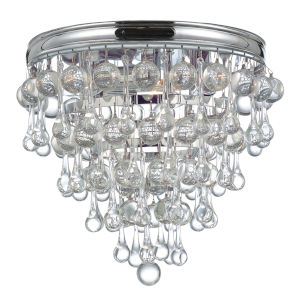 Calypso Polished Chrome Three-Light Flush Mount with Smooth Glass Balls