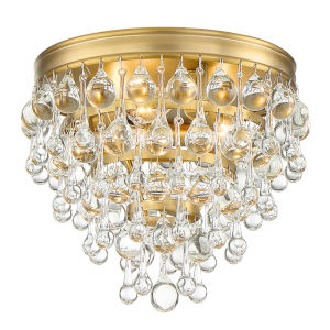 Calypso Three-Light Vibrant Gold Ceiling Mount
