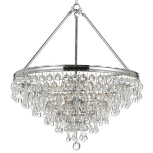 Calypso Polished Chrome Eight-Light Pendant with Clear Smooth Glass Balls