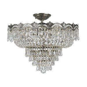 Majestic Sold Cast Brass Ornate Crystal Five-Light Semi-Flush