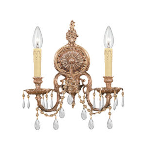 Cast Brass Wall Mount Olde Brass Two-Light Sconce with Clear Spectra Crystal.