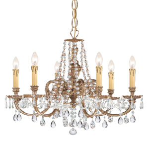 Novella Olde Brass Six-Light Ornate Cast Brass Chandelier with Clear Hand Cut Crystal