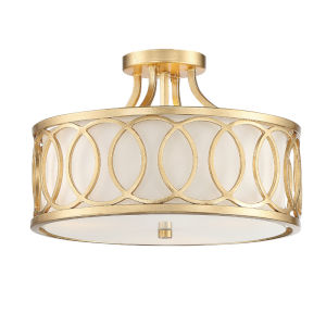 Graham Antique Gold 15-Inch Three-Light Semi Flushmount