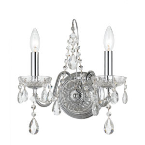 Butler Polished Chrome 13-Inch Two-Light Swarovski Spectra Crystal Wall Sconce