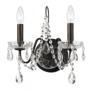 Butler English Bronze 13-Inch Two-Light Swarovski Spectra Crystal Wall Sconce