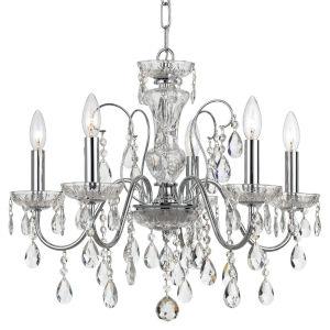 Butler Polished Chrome 23-Inch Five-Light Swarovski Strass Crystal Chandelier