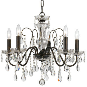 Butler English Bronze 23-Inch Five-Light Swarovski Strass Crystal Chandelier