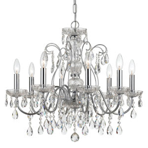 Butler Polished Chrome 26-Inch Eight-Light Swarovski Spectra Crystal Chandelier with