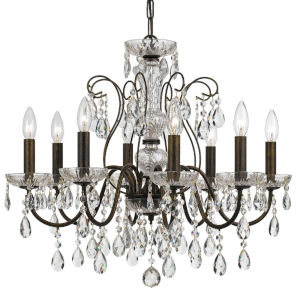 Butler English Bronze 26-Inch Eight-Light Swarovski Strass Crystal Chandelier